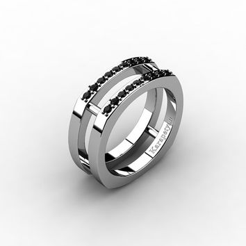 Mens Modern 14K White Gold Black Diamond Cluster Wedding Ring G10042-14KWGBD