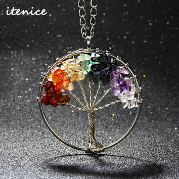 2017 Fashion Quartz Chips Pendant Necklace Rainbow 7 Chakra Tree Of Life Multicolor WisdomTree Natural Stone Necklace