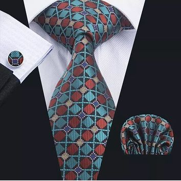 Men's Silk Coordinated Tie Set - Teal Burgundy Squared