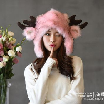 Autumn winter Women Warm Hat cartoon cute animal Faux Fur cashmere cap men and women deer head