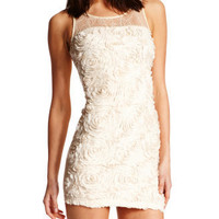Charlotte Russe - Lace-Top Rosette Dress
