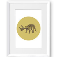 Dinosaur, printable art, vintage drawing, gold print, wall art, home decoration art