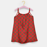 Red Tartan Plaid Pattern Girl's Dress, Live Heroes