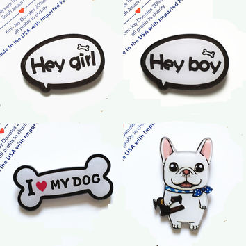 Amazing 1PC New Cartoon Shirt Cute Decoration Brooch Badge Pins Harajuku Acrylic Fruit Animal Dog Cat Letter  Brooch Broche