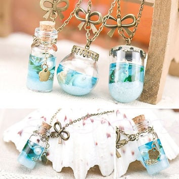 Elegant Ocean Sea Glass Bottle Pendant Necklace
