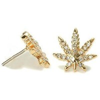 18k Gold Plated Finish Weed Marijuana Cannabis Clear Cz Stud Earrings Pushback: Jewelry: Amazon.com