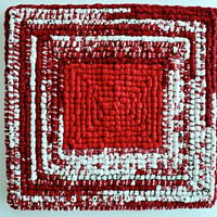 "Red and White Locker Hooking Mat / Hot Pad - 10"" x 10-1/2"""