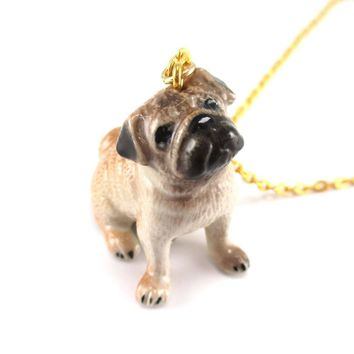 Pug Puppy Dog Porcelain Hand Painted Ceramic Animal Pendant Necklace | Handmade