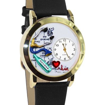 Respiratory Therapist Black Leather And Goldtone Watch