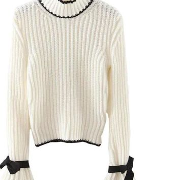 SheIn Womens Fall Fashion Women Sweaters and Pullovers Turtleneck Sweater Bow Embellished Long Flare Sleeve Sweater
