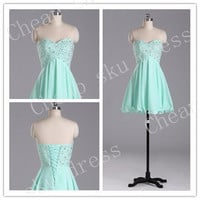 Newest A-Line Sweetheart Beads Lace-up High Quality Cheap Chiffon Ruffle Piping Short Bridesmaid /Party / Evening /Prom / Formal Dresses