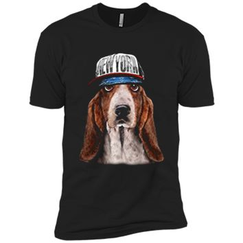 Rapper Basset Hound Dog in Hip Hop Hat New York Next Level Premium Short Sleeve Tee