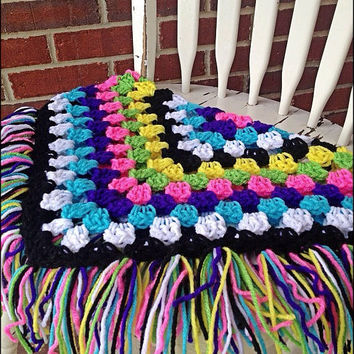 Multi-Color Crocheted Granny Square with Fringe Baby Blanket