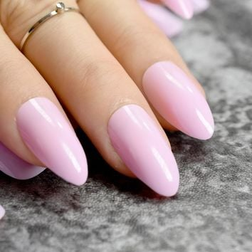 Stiletto Press On Nails Candy Light Pink Point Fake Nails Medium Size Full Wrap Nail Art Tips 24pcs/kit