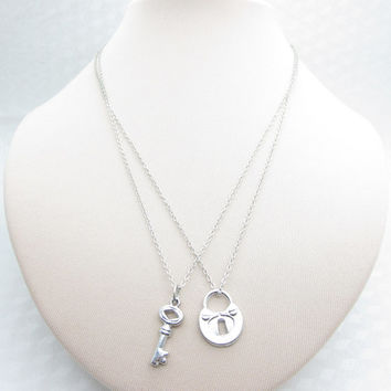 Best Friend Necklaces, His and Hers, Lock and Key Necklaces, Silver Lock and Key, Couples Necklace X046