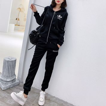 """ Adidas"" Women Casual Fashion Stripe Long Sleeve Zip Cardigan Hoodie Trousers Set Two-Piece Sportswear"