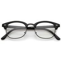 Classic Horned Rim Half Frame Clear Lens Glasses 8494 50mm