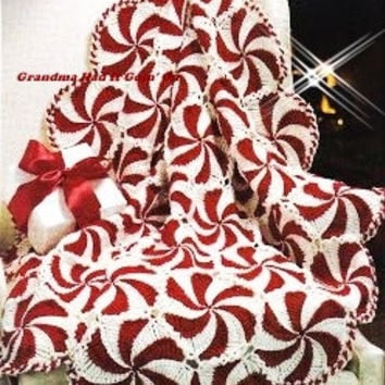 Vintage Crochet Christmas Pattern - Peppermint Candy Pinwheel Throw Christmas Afghan - PDF Instant Download - Candy Cane Afghan - Digital
