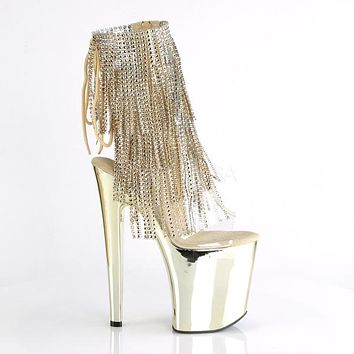 "Xtreme 1017RSF Gold Fringe Platform Ankle Boot 8"" High Heel"