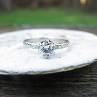 Lovely Art Deco 18K 14K White Gold Diamond Ring - Old European Cut Solitaire - approx .53 carats - Floral Band - Belais