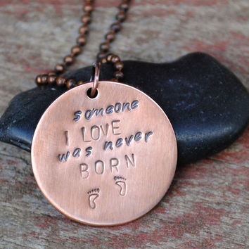 "Miscarriage Tribute Pendant Reads ""Someone I Love Was Never Born"" with Footprints on a Ball Chain Necklace"