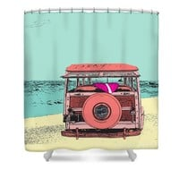 Woody at the Beach 2 Shower Curtain