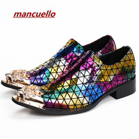 Luxury Metal Toe Mixed Colors Mens Dress Shoes Chunky Heels Zapatillas Hombre Slip On Sapato Masculino mancuello Chaussure Homme