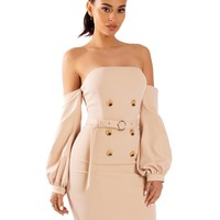 Emile Beige Off Shoulder Hand Embellished Button Detail Stretch Crepe Dress