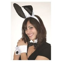 SEXY NAUGHTY BLACK WHITE BUNNY EARS COLLAR BOWTIE CUFFS PLAY BOY COSTUME SET