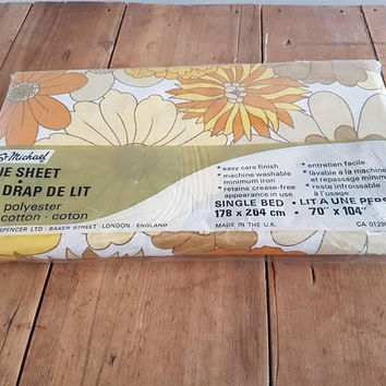 Vintage Retro Single bed Flat Sheet St Michael Yellow Floral Still In Original Packing