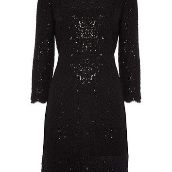 Long sleeve lace sequin shift dress