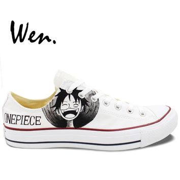 Wen Design Custom Hand Painted White Shoes One Piece Luffy Zoro Men Women's Low Top Canvas Sneakers for Gifts
