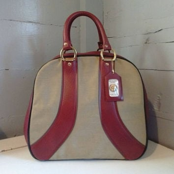 Vintage, Bowling Bag, Large, Maroon, Tan, Retro, Bowling, For Him