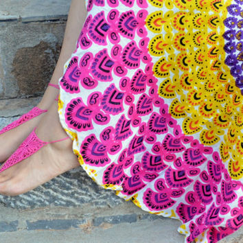 Fushia  Barefoot Sandals in Pinwheel Design,Crochet Barefoot, Foot jewelry, Victorian Lace, Yoga, Anklet , Bellydance, Steampunk, Beach Pool