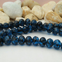 Black and Blue Czech Glass Beads - Donut beads, 9x6 mm, String of 19
