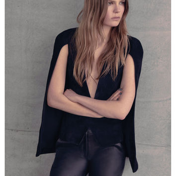 Alexis Lenore Cape with Back Vent in Black Suede