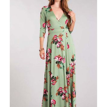 Sage Green Romantic Floral Print Wrap Maxi Dress