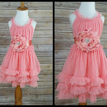 Girls Party Dress // Coral Dress // Peach Dress With Sash