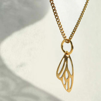 Tiny Gold Plated Necklace, Butterfly Wing Charm, Sterling Silver 24K Gold Plated Jewelry, Filigree Wing Necklace, European Jewelry, Artida