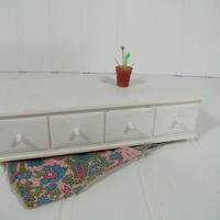 Vintage Barbie Doll Size Hope Chest - Retro Susy Goose White Plastic Low Dresser with Drawer - Fashion Doll Size Furniture for Doll House