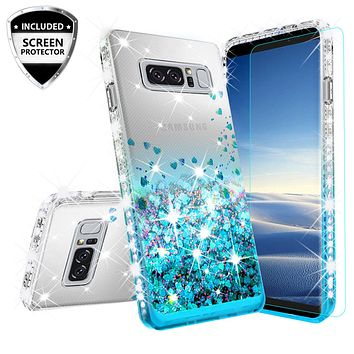 Samsung Galaxy Note 8 Case Liquid Glitter Phone Case Waterfall Floating Quicksand Bling Sparkle Cute Protective Girls Women Cover for Galaxy Note 8 - Teal