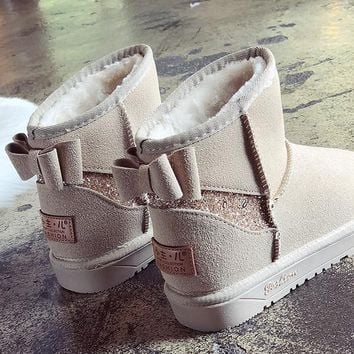 Beige Round Toe Flat Bow Sequin Fashion Ankle Boots