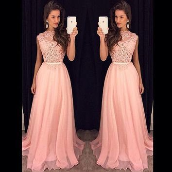 SOFUGUE Free Shipping Elegant Lace Top Long Gown Evening Dress Party Elegant Vestido De Festa Longo Cheap Prom Dresses 2016 New