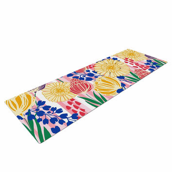 "Amy Reber ""Pretty Bouquet"" Yellow Floral Yoga Mat"