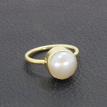 Handmade Ring, White Pearl Ring, 18K Gold Plated Ring, Round Stone Ring, June Birthstone Ring, Stackable Ring, Fashion Ring, Womens Ring