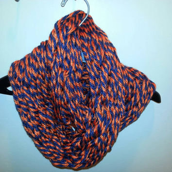 Soft and warm blue and orange Arm-Knitted Infinity scarf- Bulky Scarf - Gators Team Spirit Scarf - Infinity scarf college football Bears