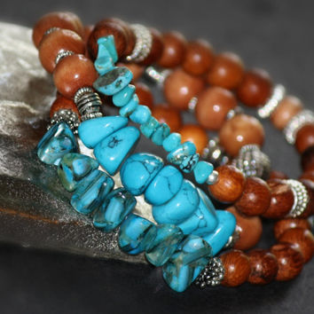 Bohemian Stacking Bracelets, Cognac and Turquoise Jewelry, Turquoise Bracelets, Elastic Bracelets, Trendy Stacking Jewelry, Christmas Gifts