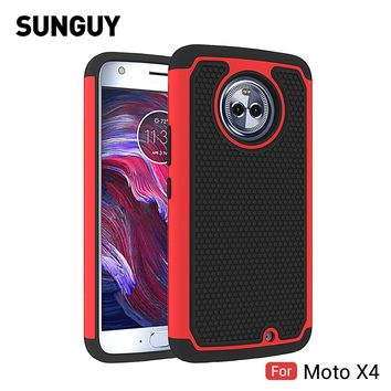 For Motorola Moto X4 Case, SUNGUY Anti-knock Drop Protection Soft Silicone+Hard PC Hybrid Armor Defender Protective Case Cover