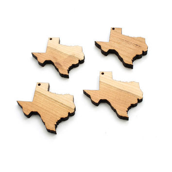 State of Texas Minis (with holes) - Free Shipping - Wood Charms by Timber Green Woods