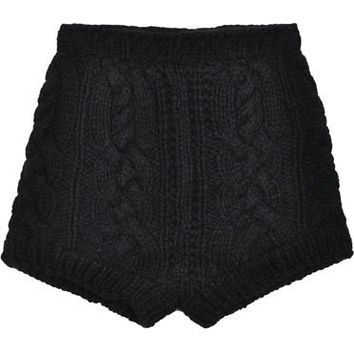 Stolen Girlfriends Club Black Cable Knit Shorts